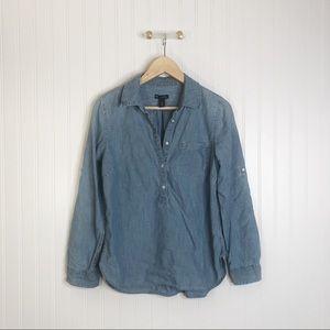 Gap chambray denim long sleeve collar blouse top S